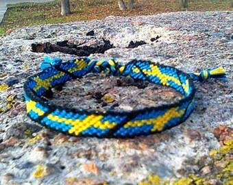 Sweden Flag friendship bracelet Swedish woven cotton gift