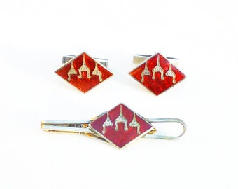 Siam Sterling Red Enamel Cufflinks Tie Clip - Sterling Silver Cufflinks, Mens Cufflinks, Mens Vintage, Suit Tie Accessories, Gifts for Dad