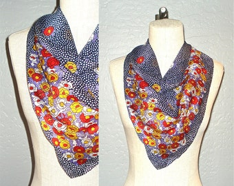 Vintage scarf CONFETTI FLOWERS springtime silky
