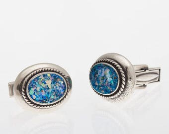 Sterling Silver Cufflinks set with Ancient Roman Glass. israeli jewelry