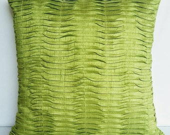 Lime green dupioni silk pintuck pillow. Decorative pleated pillow cover. Light lime green pillow. Lemon green cushion cover   18  inches