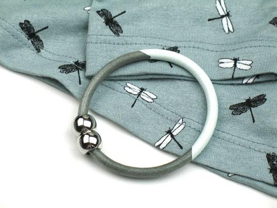 Enamel Bangle w Grey Mokuba Cord, Round Silver Magnetic Clasp, Mint Green Enamel Accent, Womens Gift, Gift for Her, Artisan Fashion Bracelet