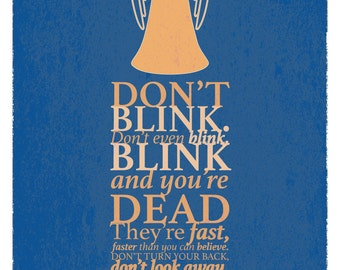 "Doctor Who inspired print A4, A3, ""Don't Blink"""