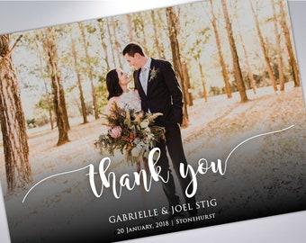 Thank You Postcards | Custom Wedding Thank You Card | Wedding Photography | Wedding Postcards | Thank You | Script | Typography | Thanks