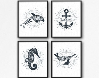 "Nautical Print Set 4 of 11x14"", Nautical Quote, Nautical Illustration, Nautical Typography, Nautical Poster, Anchor Quote, Seahorse Quote"