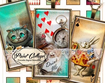 Alice in Wonderland Domino size Pendants Printable images  Digital Collage Sheet 1 x 2 inch Jewelry Backgrounds Clip Art c59