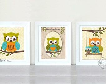 Nursery Owl Print wall art ,Set of three Prints Boys Woodland Owl Nursery Art