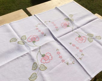 1940s embroidered tablecloth-gift-vintage rectangle floral tablecloth-Hand embroidered pink flowers. Perfect for an afternoon tea party!
