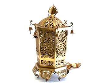 Brass Pagoda Lamp Hollywood Regency