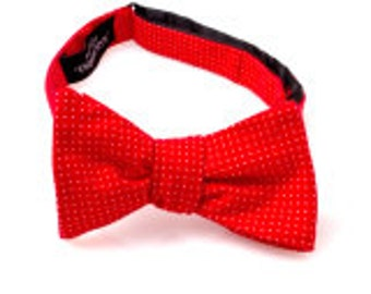 Red and White Polka Dot Self Tie Bow Tie
