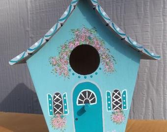 Large Wood Turquoise Birdhouse #272