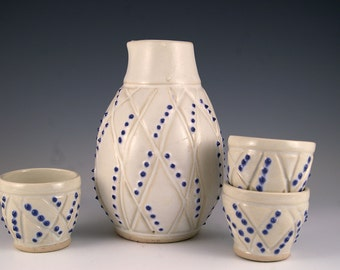 Stoneware Sake Set, White and blue tactile bottle and 3  cups