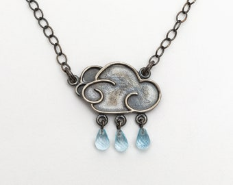 Large Cloud Pendant with 3 Raindrops