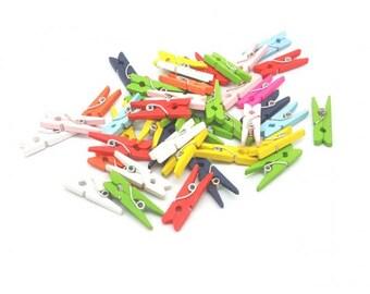 100 mini clothespins multicolor 25mm
