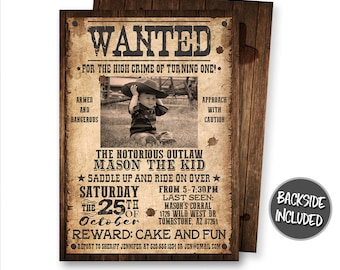 Wanted Poster Invitation, Cowboy Birthday Invitation, Cowboy Party, Picture, Western Birthday, Personalized Invite, Digital, Printables