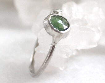 tourmaline ring, rose cut, silver ring, recycled silver, hand carved, diamond ring, raw diamond, rough diamond