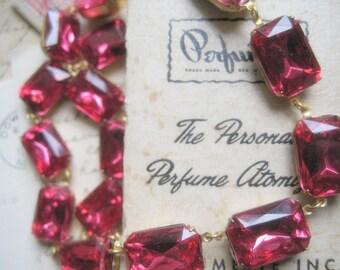 Dark Pink Statement Necklace, Anna Wintour Inspired,  rose pink, bridal necklace, georgian collet.