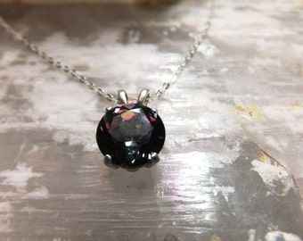"""9mm Round Mystic Topaz & Sterling Silver 18"""" Necklace"""