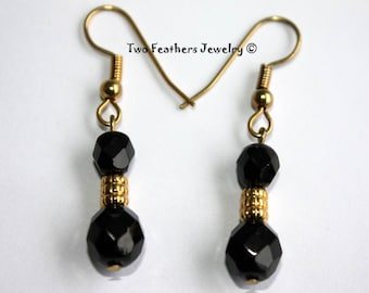 Black And Gold Earrings - Bridesmaid Gift - Bridal Jewelry - Beaded Earrings - Jet Black Czech Glass Earrings - Two Feathers Jewelry