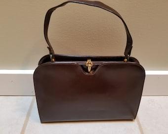 Vintage Leather Brown Handbag 1950's 60's
