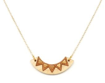 Gold collar necklace, White necklace, Bar pendant necklace Gold Boho jewelry Wooden necklace, Tribal necklace, Chevron necklace Wood jewelry