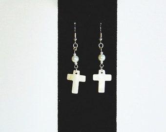 Mother Of Pearl Cross Earrings,Cross Earrings,MOP Earrings,Pearl Earrings,Mother Of Pearl Jewelry,MOP Jewelry,Cross Charm,Earrings,Mop,mop