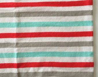 Aqua, grey, and red stripped receiving blanket