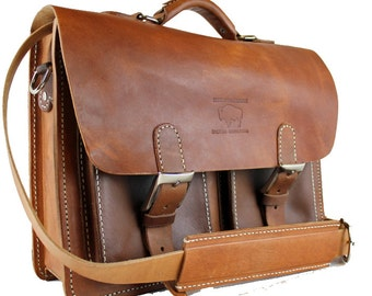 "Rustic Distressed Leather Messenger Bag  Briefcase Laptop Satchel fits Macbook Pro 15"" 501"
