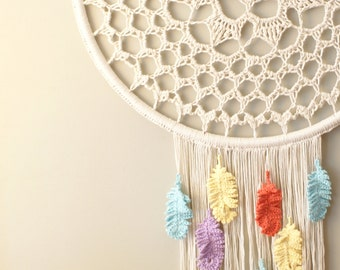 DIY Crochet PATTERN - Dream a Little Dream Wall Hanging (2014023): dreamcatcher, dream catcher, wall hanging, crochet pattern, boho, macrame