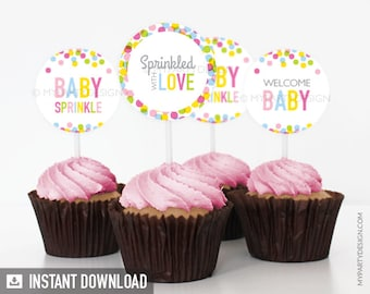 Baby Sprinkle Cupcake Toppers - Baby Shower - INSTANT DOWNLOAD - Printable PDF (BB01)