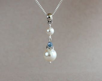 White Swarovski pearls light blue Czech fire polished crystals silver chain pendant necklace, bridesmaid bridal accessory, wedding jewelry