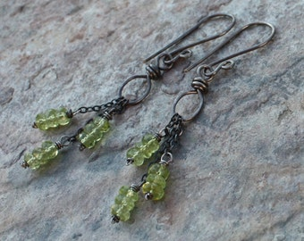 PERIDOT earrings, Peridot DANGLE earrings, green gemstone earrings, sterling silver, handmade artisan, angry hair jewelry