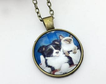 Dog Cat Pet Collar, Canine Companion, Handmade Medallion, Animal Gift