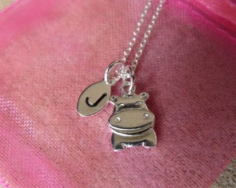 Kids/Adult Personalised Initial Silver Hippo Necklace