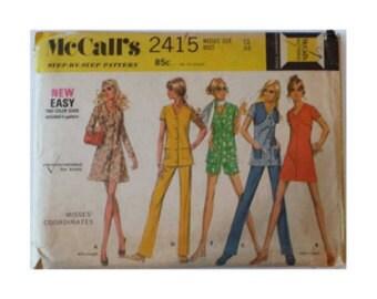 1970s McCalls 2415 Dress, Bolero, Top, Pants and Shorts Vintage Pattern Size 12