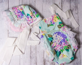 Baby Girl Romper, hydrangea romper and bonnet set, turquoise floral romper, lace romper, girls spring outfit, baby girl Easter outfit