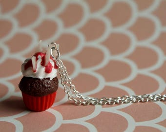 Bloody and Glass Shard Cupcake Necklace/ Halloween Jewelry/ Seasonal Wear/ Ghoulish/ Goth/Scary Cute