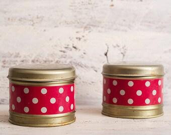 Set of 2 round tin boxes, metal kitchen box, tin kitchen container, red tin box, rustic kitchen decor box, polka dot container, soviet tin