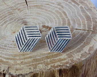 Cube fine silver stud earrings