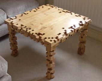 Coffee Table - Oak Furniture - 8 Bit - Pixel - Square - Living Room