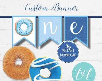 ONE First Birthday Banner DONUT BIRTHDAY Boy Blue