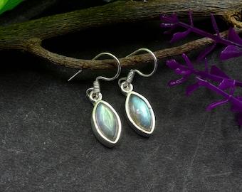 Natural Labradorite Marquise Gemstone Drop Dangle Earring 925 Sterling Silver E362