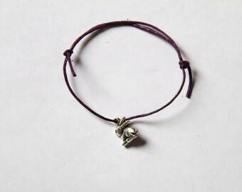 cute silver rabbit charm on waxed cotton cord adjustable friendship bracelet