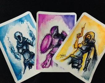 ORIGINAL Watercolour Post Cards Set Destiny : Gunslinger, Sentinel. Dawnblade