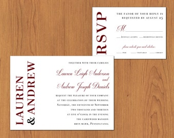 Horizontal Wedding Invitation // Printable, DIY Wedding, Wedding Invitation, Custom Invitation