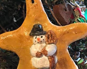 Salt dough snowman on star