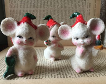 Set B-Vintage Sugar Babies Mice Made in Japan Ceramic Christmas Mouse Family of 3