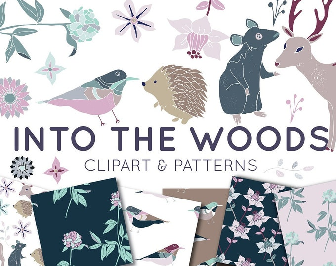 Woodland Clipart - Hand Drawn Clipart and Seamless Patterns - Flowers - Floral - Mouse Deer - Stationary Graphics - Commercial Use Clip Art