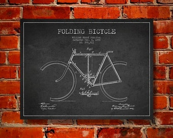 1898 Bicycle Patent Canvas Print, Wall Art, Home Decor, Gift Idea