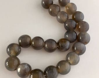 Agate Beads - 23 beads - approximately 10mm
